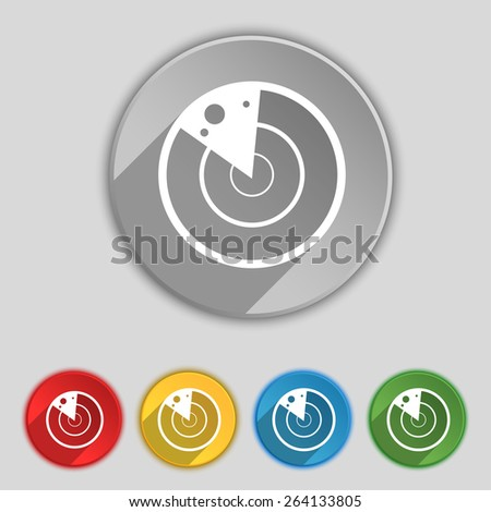 radar icon sign. Symbol on five flat buttons. Vector illustration - stock vector