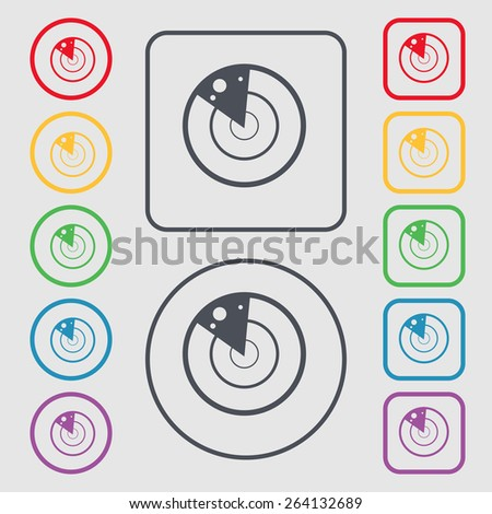 radar icon sign. symbol on the Round and square buttons with frame. Vector illustration - stock vector
