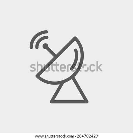 Radar satellite dish icon thin line for web and mobile, modern minimalistic flat design. Vector dark grey icon on light grey background. - stock vector