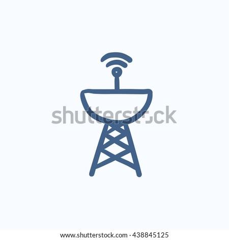 Radar satellite dish vector sketch icon isolated on background. Hand drawn Radar satellite dish icon. Radar satellite dish sketch icon for infographic, website or app. - stock vector