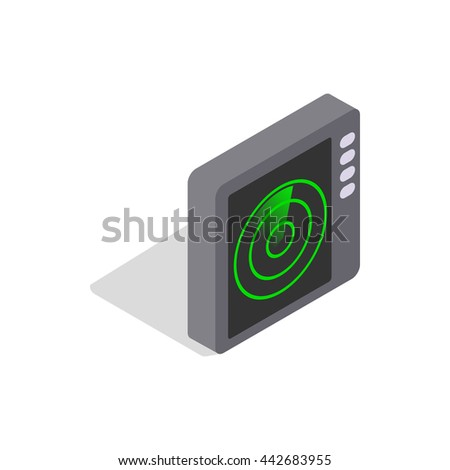 Radar screen icon in isometric 3d style on a white background - stock vector