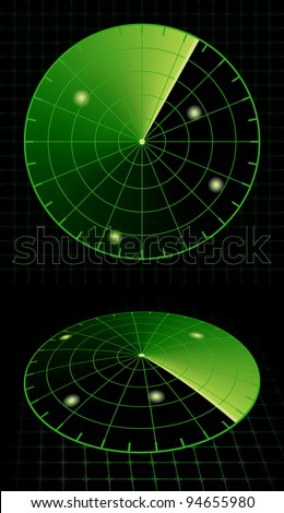 Radar Screen Target Detection. Vector Illustration - stock vector