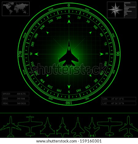 Radar screen with compass surrounding jet fighter. Commercial jets and piston planes optional, eps 10. - stock vector
