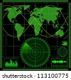 Radar screen with world map. Vector EPS10. - stock vector