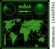 Radar screen with world map. Vector EPS10. - stock photo
