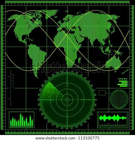 Radar screen with world map. Vector EPS10. - stock vector