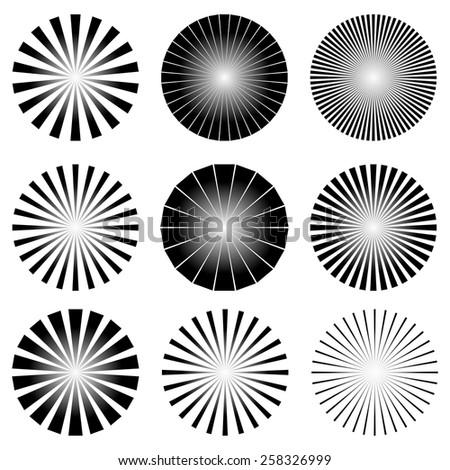 Radial Elements Set. Starburst or Sunburst Backgrounds. Ray, Beam Shapes - stock vector