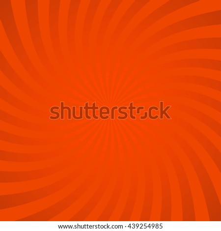 Radial orange comic background with optical illusion effect. Swirl design. Vortex spiral illustration. Vector rays pattern. Can be used for cartoon and animation