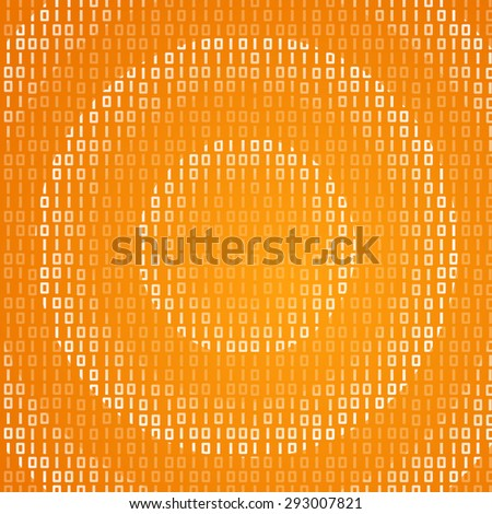 Radial pattern binary waves traveling on yellow background. Technology global connection theme vector background design. - stock vector