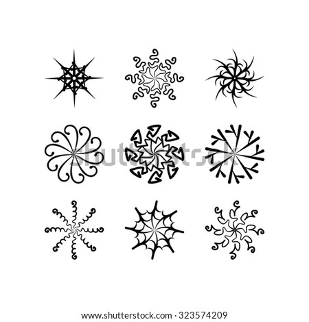 radial vector pattern floral monochrome 4 - stock vector