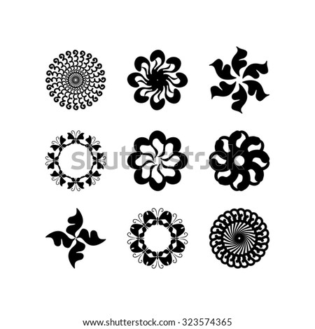 radial vector pattern floral monochrome 1 - stock vector