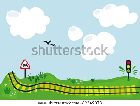 Radiant future. Landscape with clouds, birds and railway - stock vector