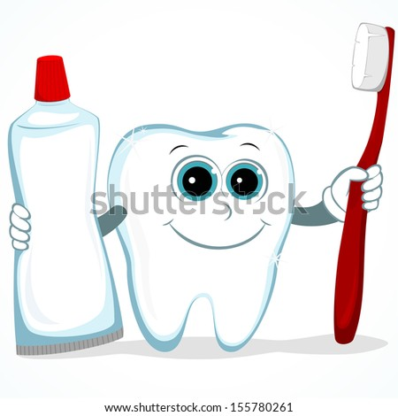 radiant white tooth holds toothpaste and brush in the hands - stock vector