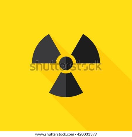 Radiation Hazard Flat Long Shadow Icon - stock vector