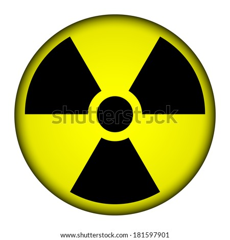 Radiation round button - vector illustration. - stock vector