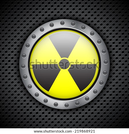 Radiation sign on metal circular grid. EPS10 vector