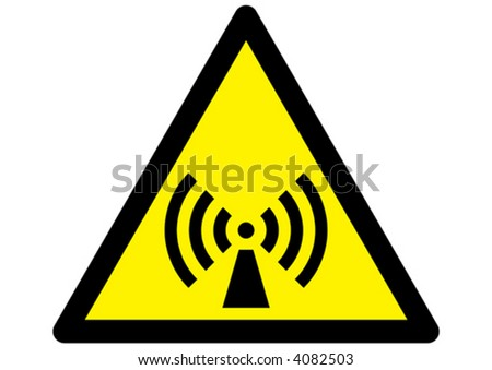 radiation symbol on triangular yellow sign