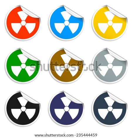 radiation symbol. Set of blank stickers Eps 10 - stock vector