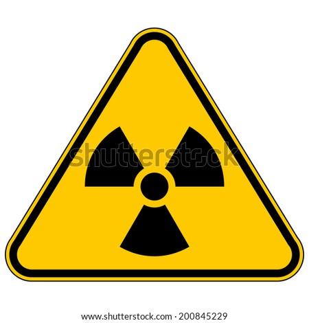 Radiation triangular sign. Vector illustration. - stock vector