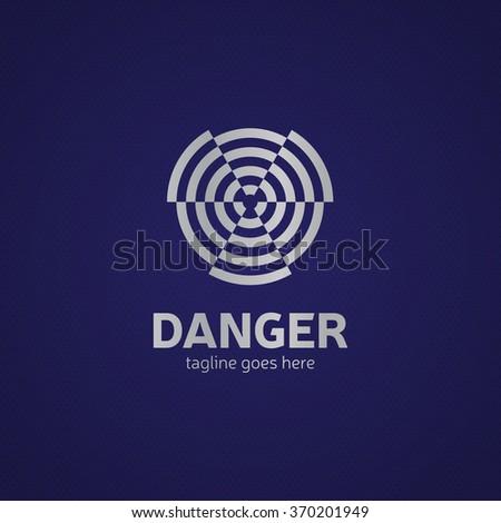 Radiation warning, vector sign. Metal style - stock vector