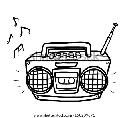 radio and tape cassette player / cartoon vector and illustration, hand drawn, sketch style, isolated on white background. - stock vector
