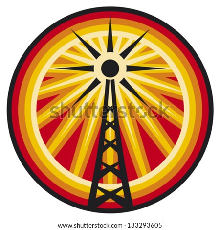 radio antenna symbol (radio translation sign, wi fi icon, radio tower label,  connection sign) - stock vector