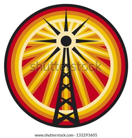 radio antenna symbol (radio translation sign, wi fi icon, radio tower label,  connection sign) - stock vector