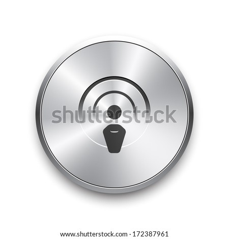 Radio broadcasting vector icon on  button. Vector illustration. - stock vector