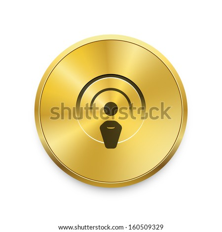 Radio broadcasting vector icon on gold button. Vector background.  - stock vector