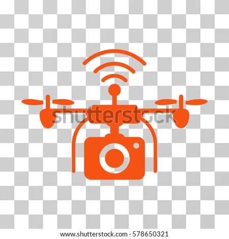 Radio Camera Drone Icon Vector Illustration Style Is Flat Iconic Symbol Orange Color