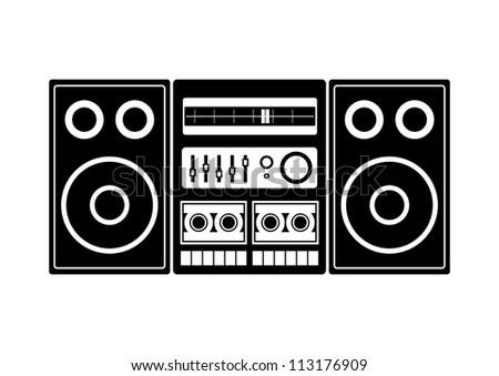 Radio cassette player - stock vector