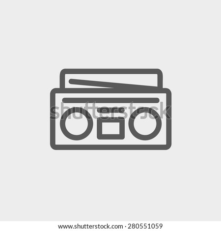 Radio cassette player icon thin line for web and mobile, modern minimalistic flat design. Vector dark grey icon on light grey background. - stock vector