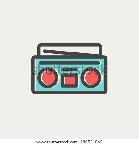 Radio cassette player icon thin line for web and mobile, modern minimalistic flat design. Vector icon with dark grey outline and offset colour on light grey background. - stock vector