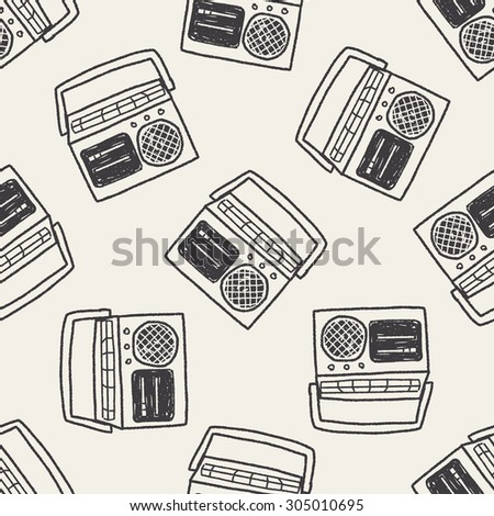 radio doodle seamless pattern background