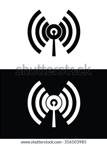 Radio Frequency Icon Set in Black and Reverse - stock vector