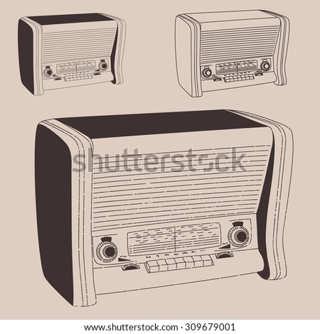 Radio gramophone vintage illustration, engraved retro style, hand drawn, sketch. - stock vector