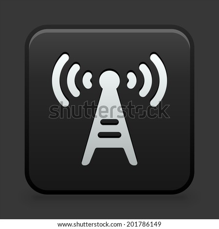 Radio Icon on Black and White Button  - stock vector