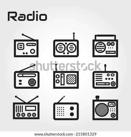 Radio icon set - stock vector