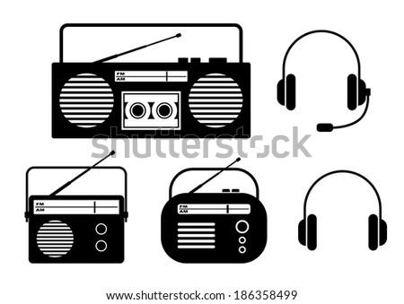 Radio icons on white background - stock vector