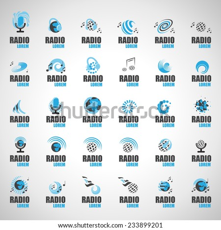 Radio Icons Set - Isolated On Gray Background - Vector Illustration, Graphic Design Editable For Your Design - stock vector
