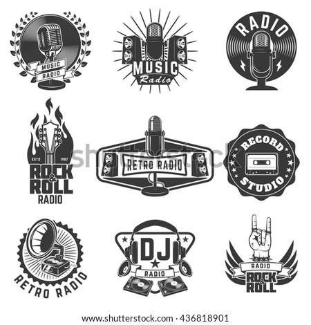 Radio labels. Retro radio, record studio, rock and roll radio emblems. Old style microphone, guitars. Design elements for logo, label, sign, badge. - stock vector
