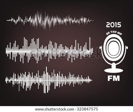 radio logotype, sound waves - stock vector