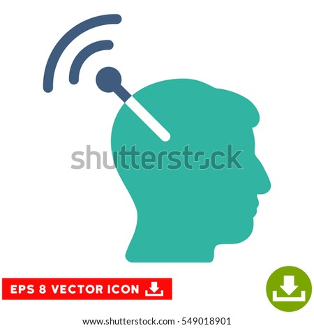 Radio Neural Interface EPS vector icon. Illustration style is flat iconic bicolor cobalt and cyan symbol on white background.