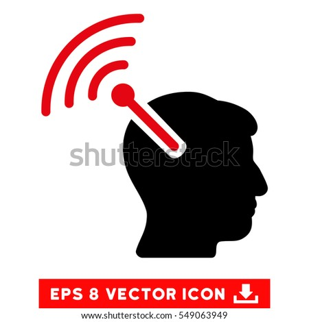Radio Neural Interface EPS vector pictograph. Illustration style is flat iconic bicolor intensive red and black symbol on white background.