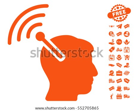 Radio Neural Interface pictograph with free bonus graphic icons. Vector illustration style is flat iconic symbols, orange color, white background.