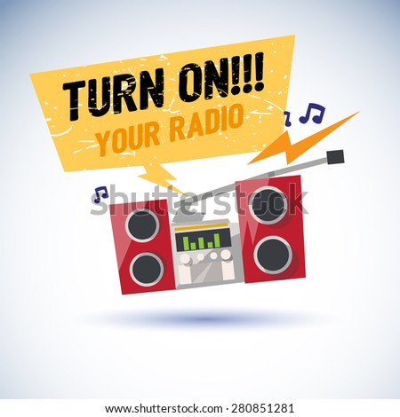 """Radio playing cool music and jumping with beat. speech bubble with text """"turn on your radio"""" for replace your text. rock style  - vector illustration - stock vector"""