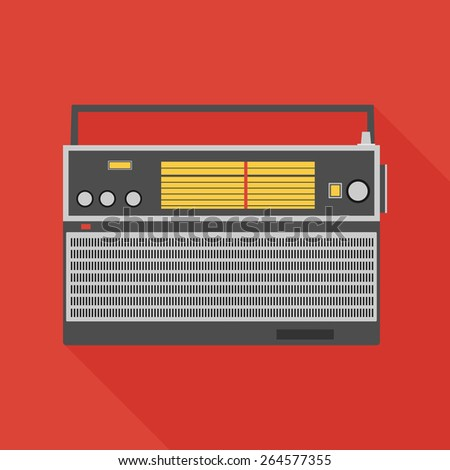 radio receiver icon with long shadow. flat style vector illustration