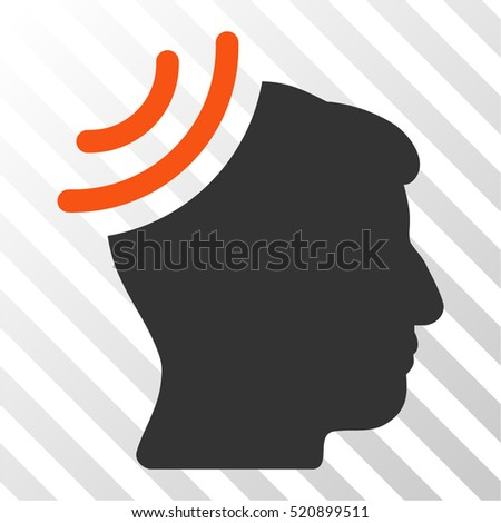 Radio Reception Brain vector icon. Illustration style is flat iconic bicolor orange and gray symbol on a hatched transparent background.