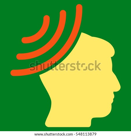 Radio Reception Mind vector pictogram. Style is flat graphic bicolor symbol, orange and yellow colors, green background.