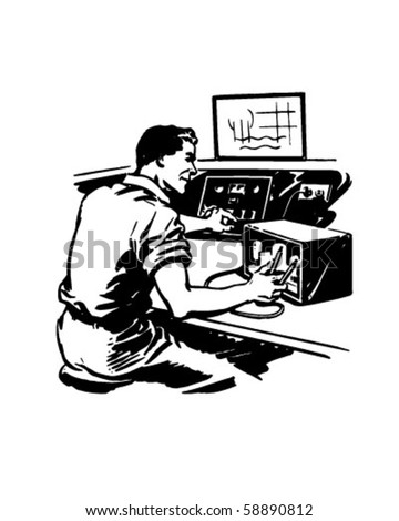 Radio Repairman 2 - Retro Clip Art